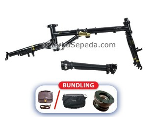 "Fnhon Frame Set Gust Golden Black Edition + handlepost V-Brake (16"")"